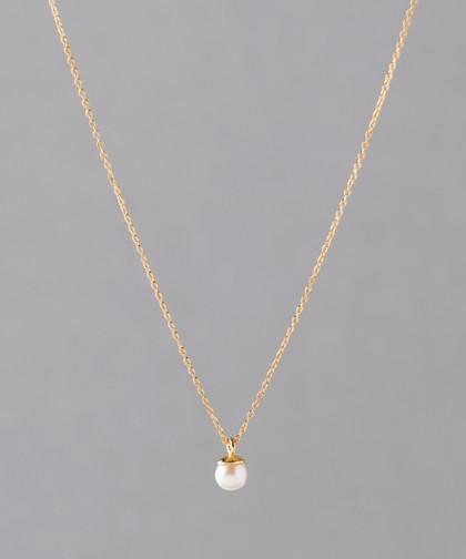 本真珠のシンプルネックレス[小][ジャルビジュー] (ホワイト)