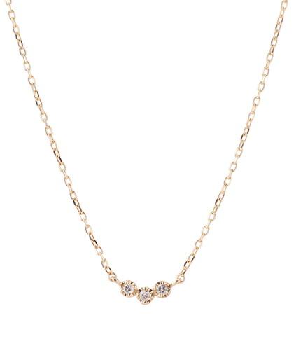 ワントップダイヤのネックレス[3粒][K10]